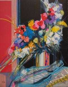 Flowers Blue, White & Red - Original handsigned lithograph - 199ex