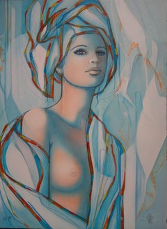 Nude with Blue Turban - Original handsigned lithograph - 199ex