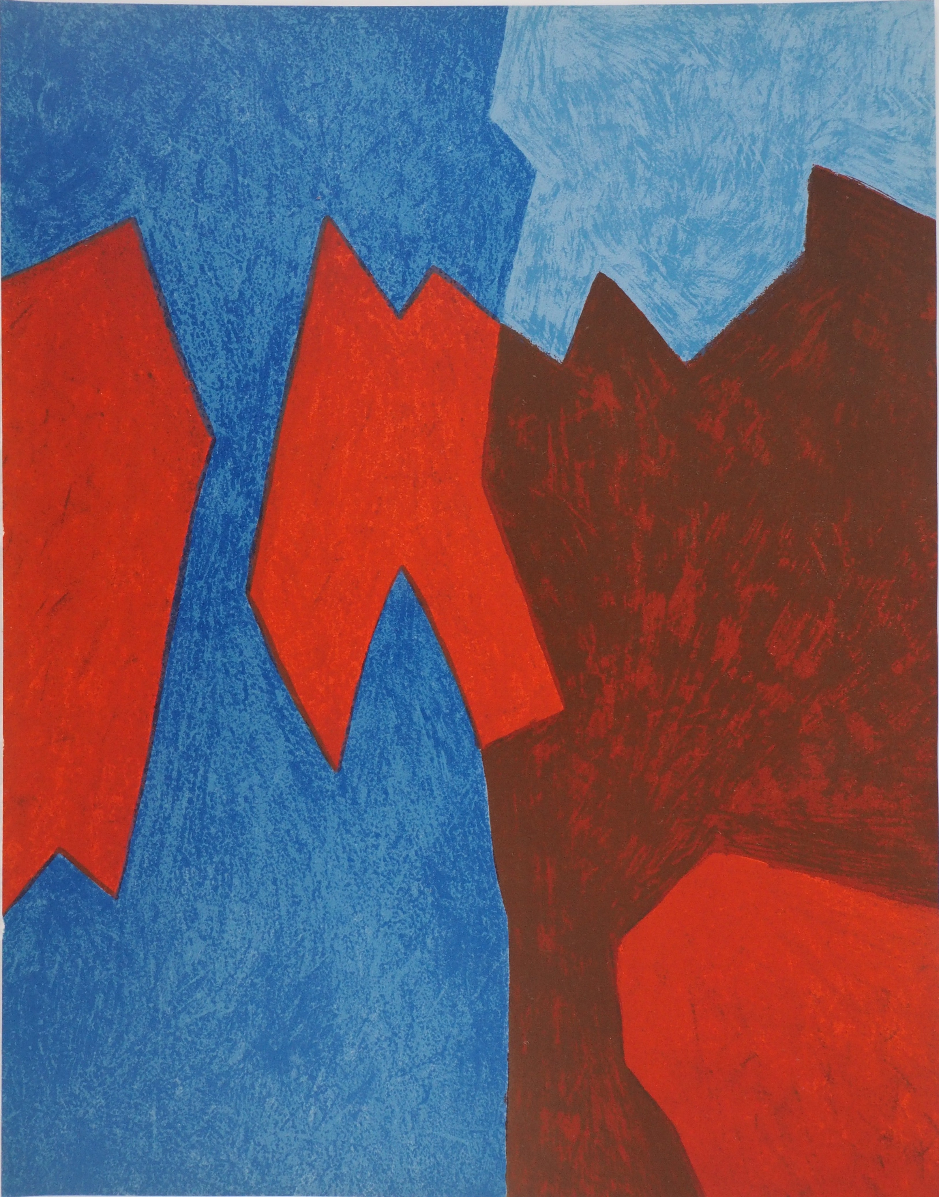 Composition in Blue and Red - Original lithograph (Mourlot 1968)