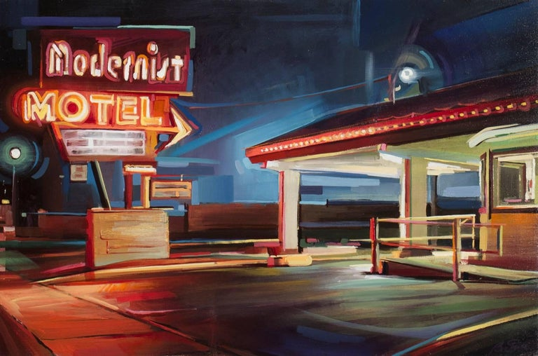 Modernist Motel - Painting by Ben Steele