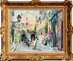 St. Paul de Vence, Large Impressionist painting by Dimitrie Berea 1957