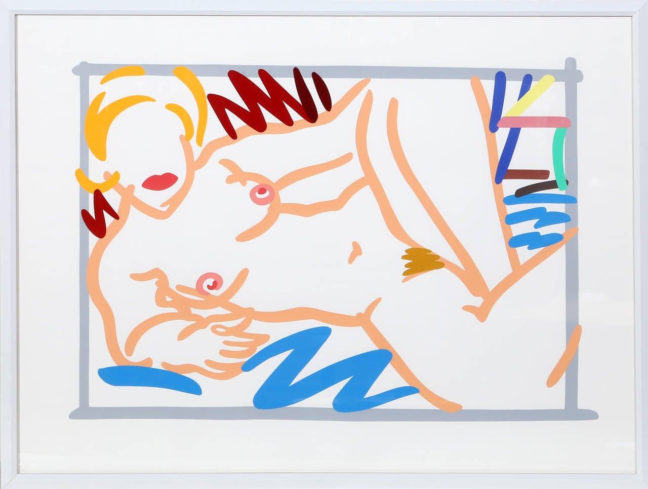 Judy on Blue Blanket, Framed Silkscreen by Tom Wesselmann