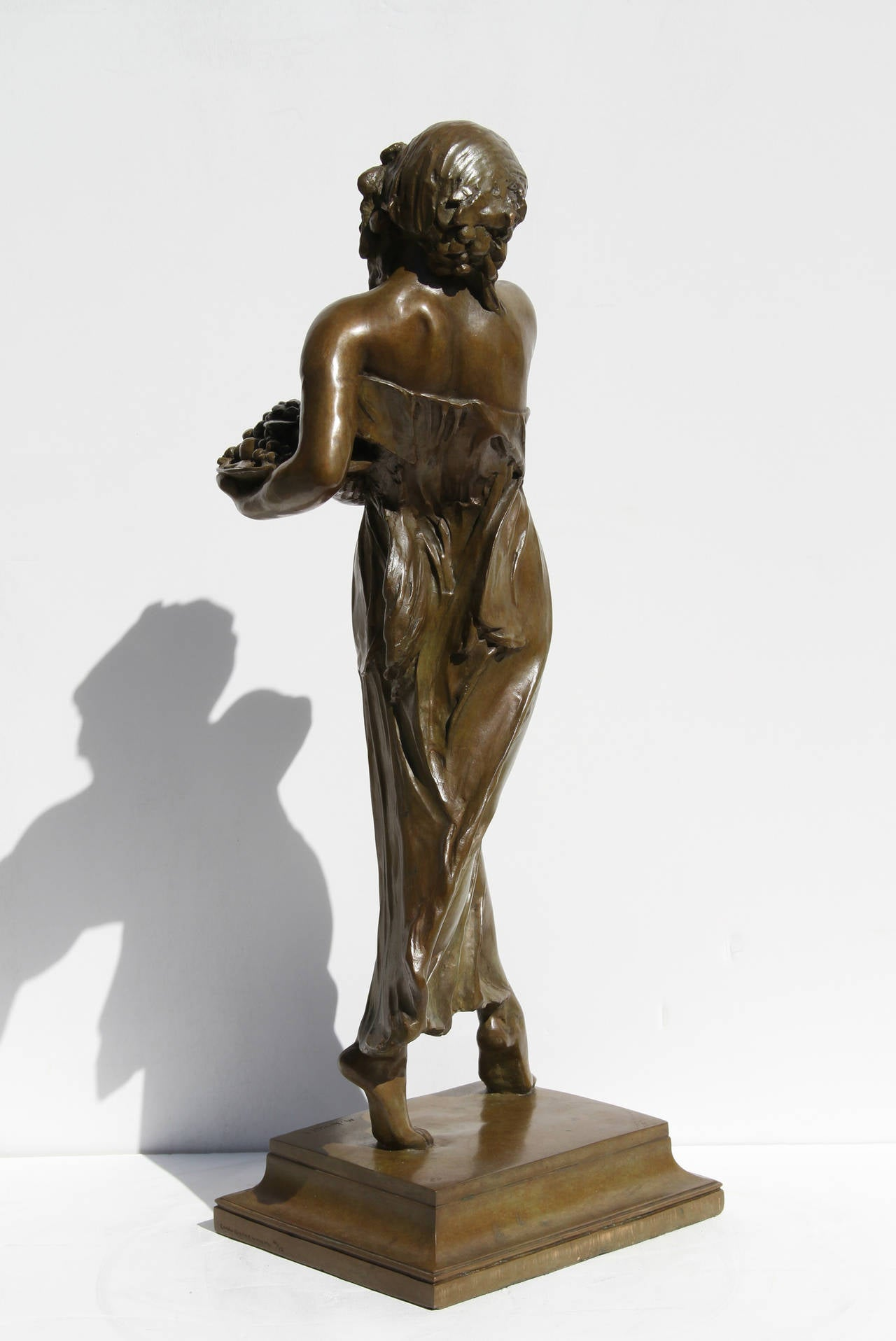 Woman Carrying Grapes - Gold Figurative Sculpture by Mario Joseph Korbel
