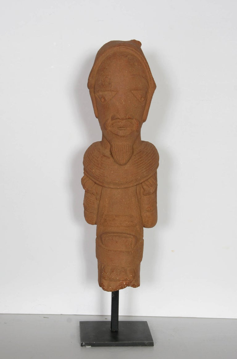 Unknown Figurative Sculpture - Nok Head Figurine (Nigeria), 500BC-200AD Terra Cotta Sculpture