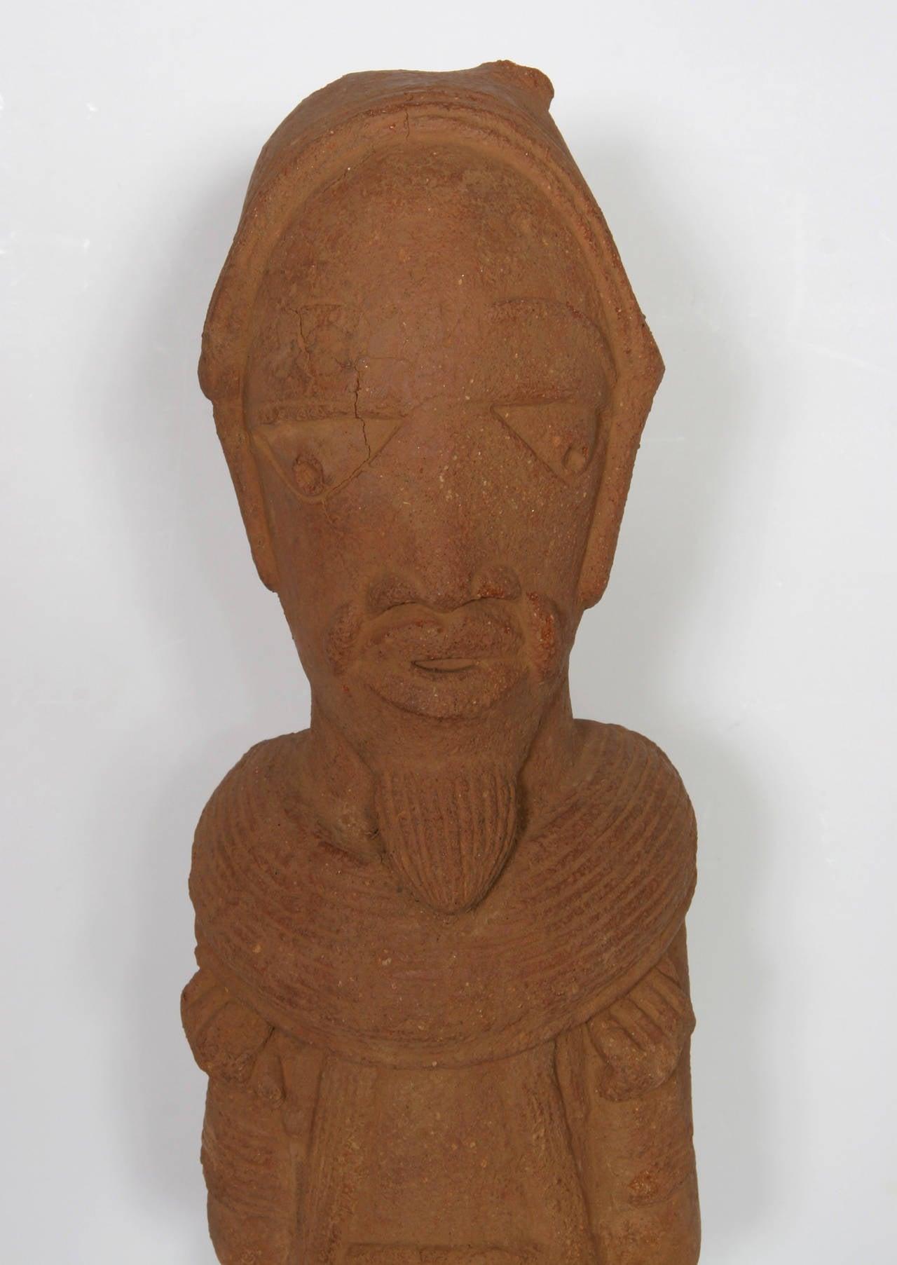 Nok Head Figurine (Nigeria), 500BC-200AD Terra Cotta Sculpture - Black Figurative Sculpture by Unknown