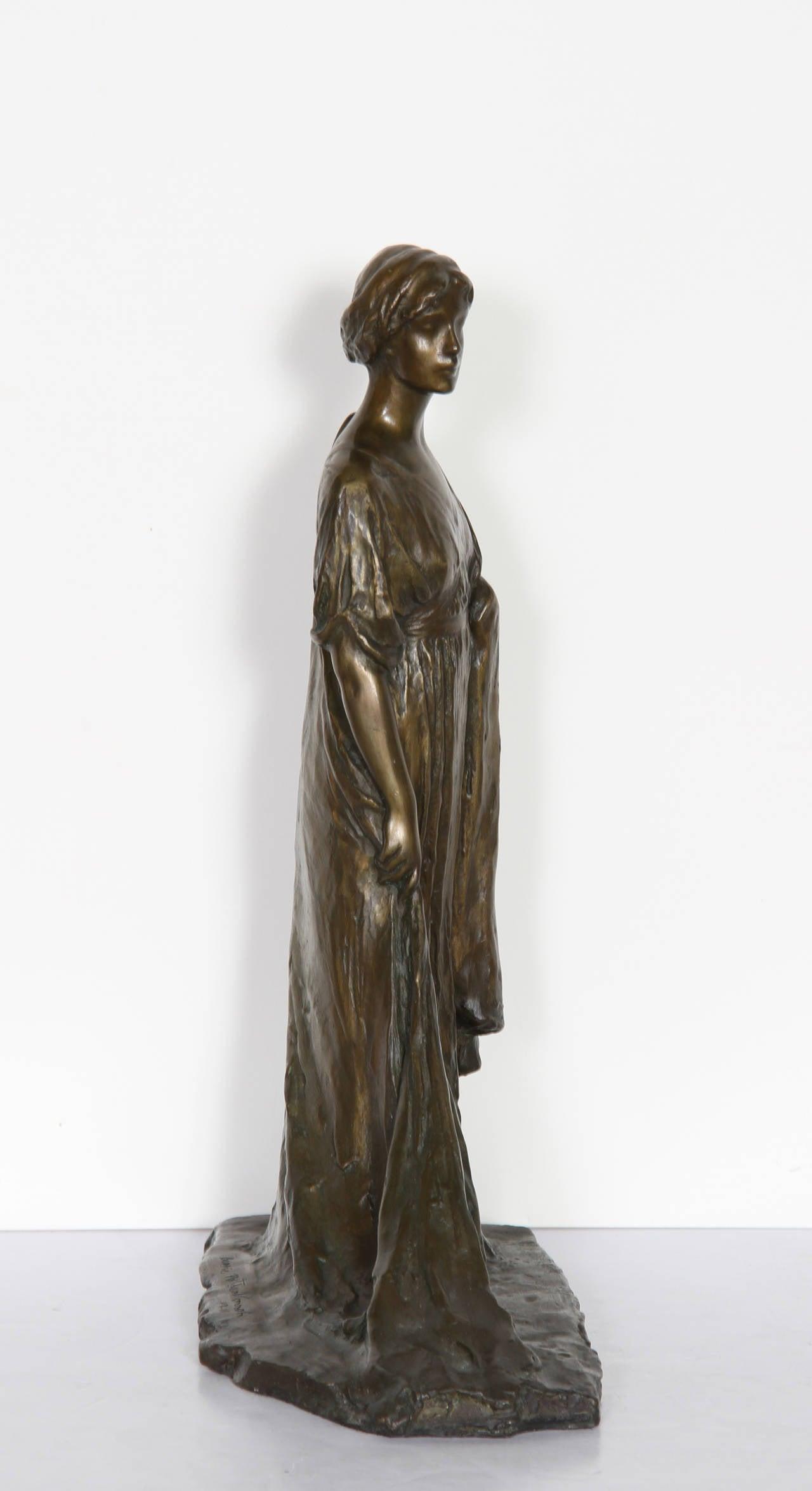 Standing Woman, Bronze Sculpture by Bessie Potter Vonnoh 1911 For Sale 4
