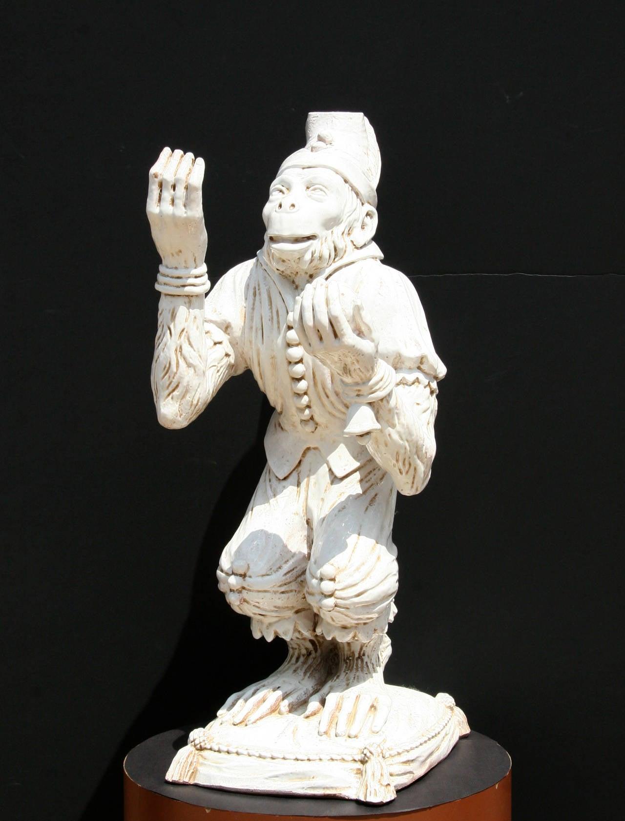 Juggling Monkey, Porcelain Sculpture - Beige Figurative Sculpture by Unknown