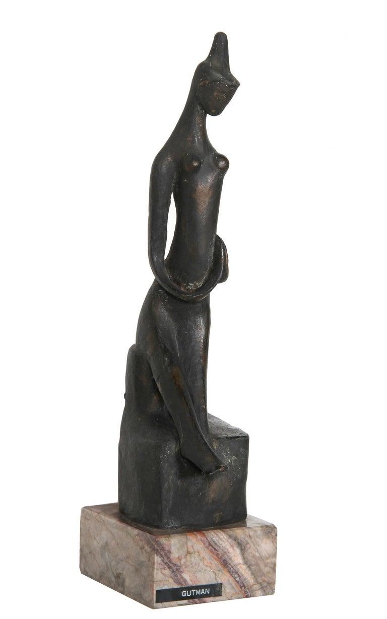 Ruth Gutman Figurative Sculpture - Praying Woman, Modern Bronze Sculpture