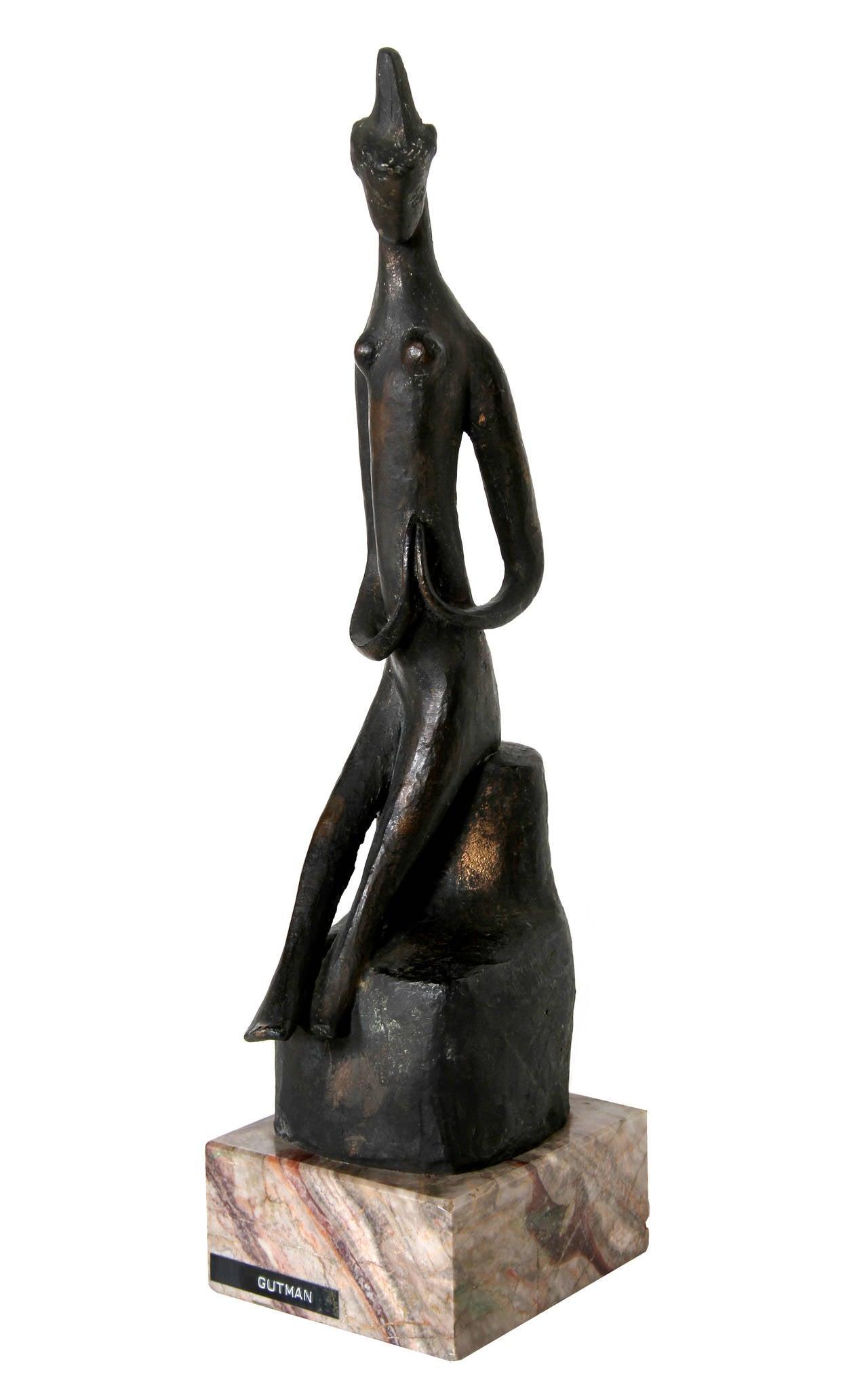 Praying Woman, Modern Bronze Sculpture - Gold Figurative Sculpture by Ruth Gutman