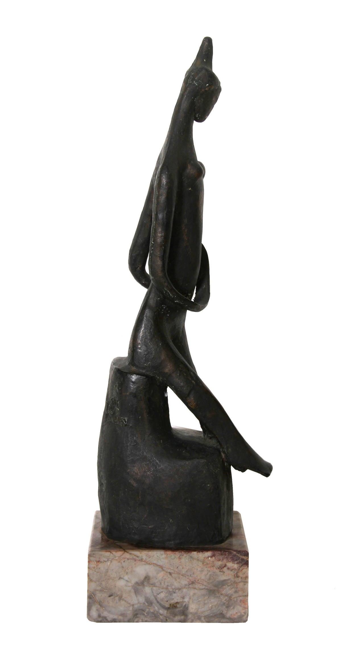 Praying Woman, Modern Bronze Sculpture For Sale 1