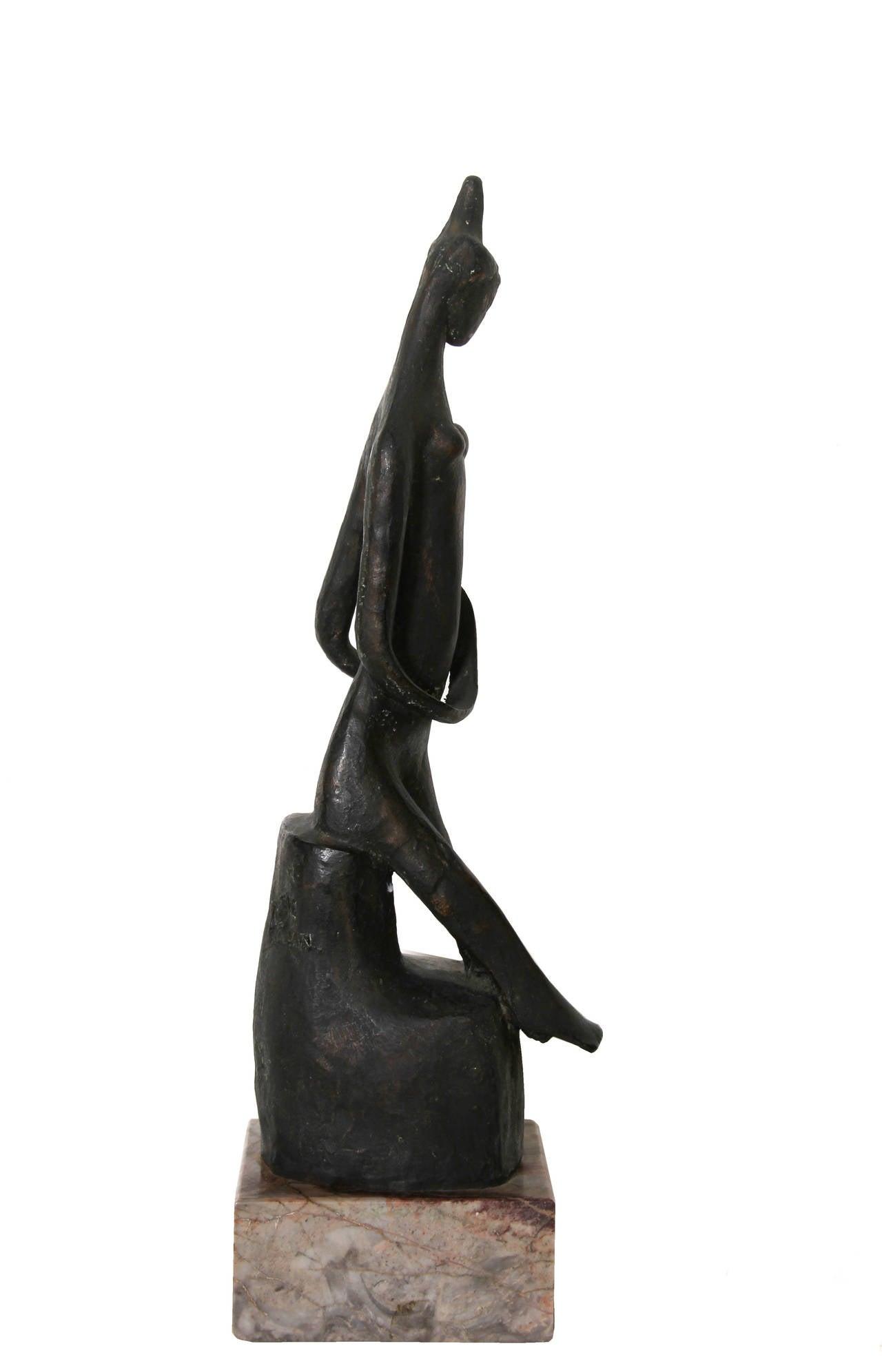 Praying Woman, Modern Bronze Sculpture For Sale 2