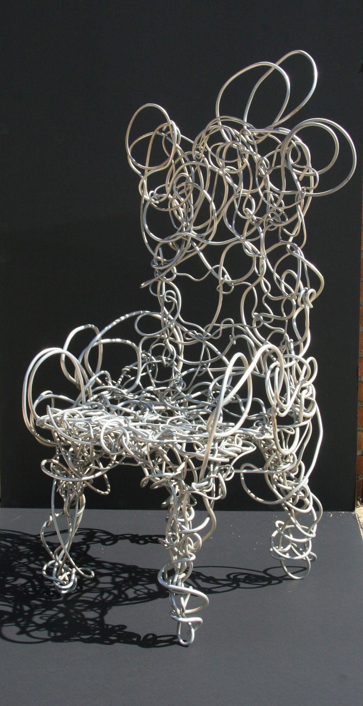 Forrest Warden Myers Abstract Sculpture - Unique Aluminum Sculptural Chair