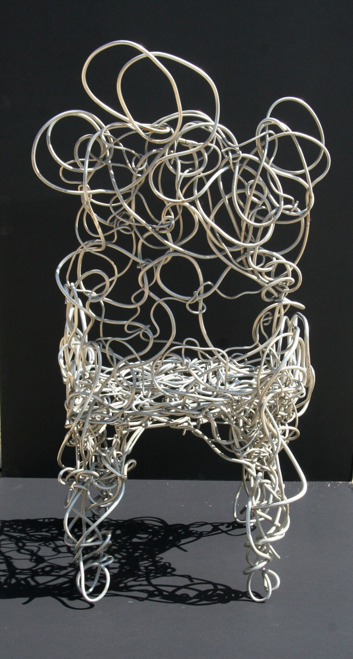 Unique Aluminum Sculptural Chair - Gray Abstract Sculpture by Forrest Warden Myers
