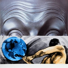 Eyebrows Furrowed Foreheads Figure with Globe, Silkscreen by John Baldessari