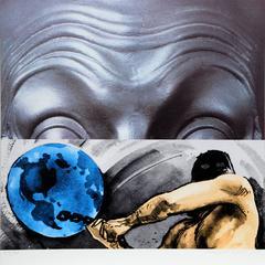 John Baldessari - Eyebrows Furrowed Foreheads Figure with Globe