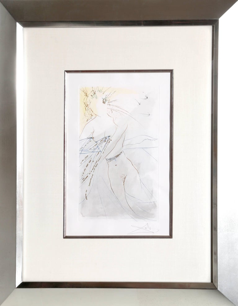 An original hand-signed Dali etching framed in a museum white-gold leaf frame with silk matting and silver bevel.  Artist: Salvador Dali Title: Thou art all faire, my love: there is no spot in thee from the Portfolio Song of Songs of Solomon Year: