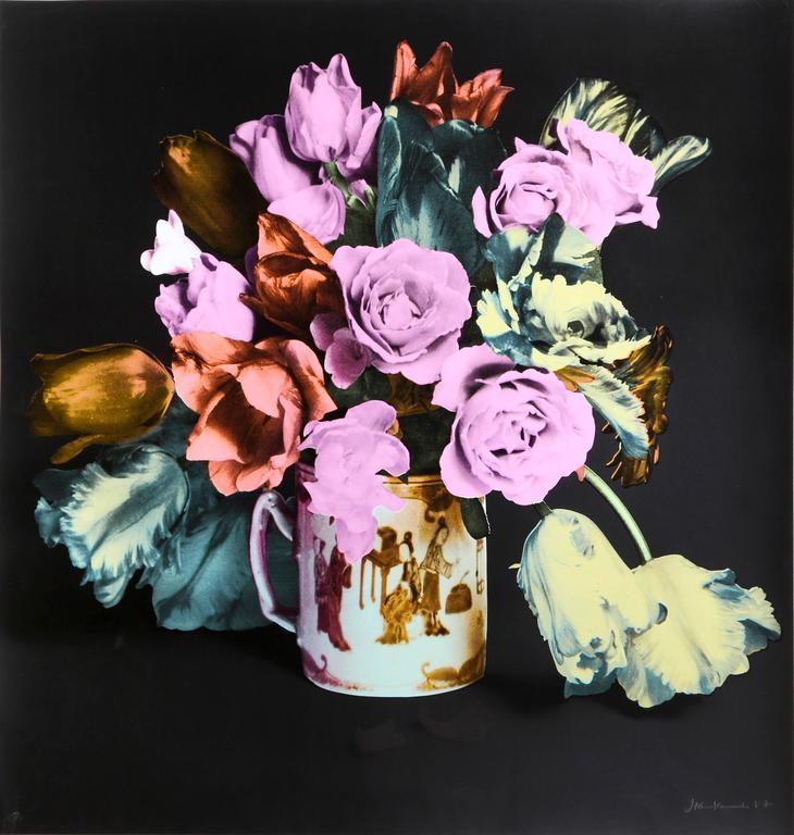 Francesco Scavullo Still-Life Print - Flower Arrangement in Mug, Black