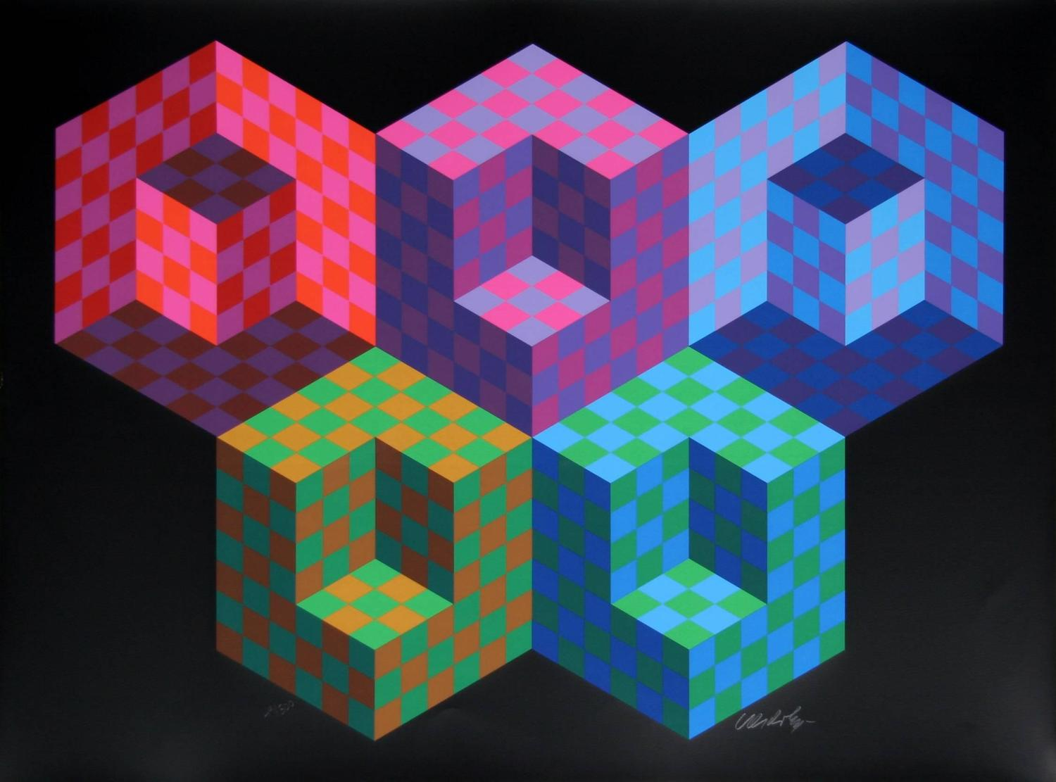 victor vasarely hexa 5 for sale at 1stdibs