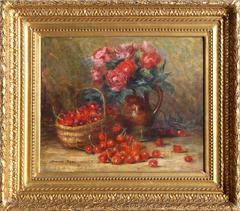 Still Life with Cherries and Roses, Oil Painting