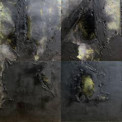 Two Dog Pass, Large Four Part Abstract Painting by Donald Sultan