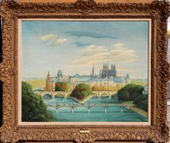 Paris Stadbild, Oil Painting by Gyorgy Stefula circa 1950