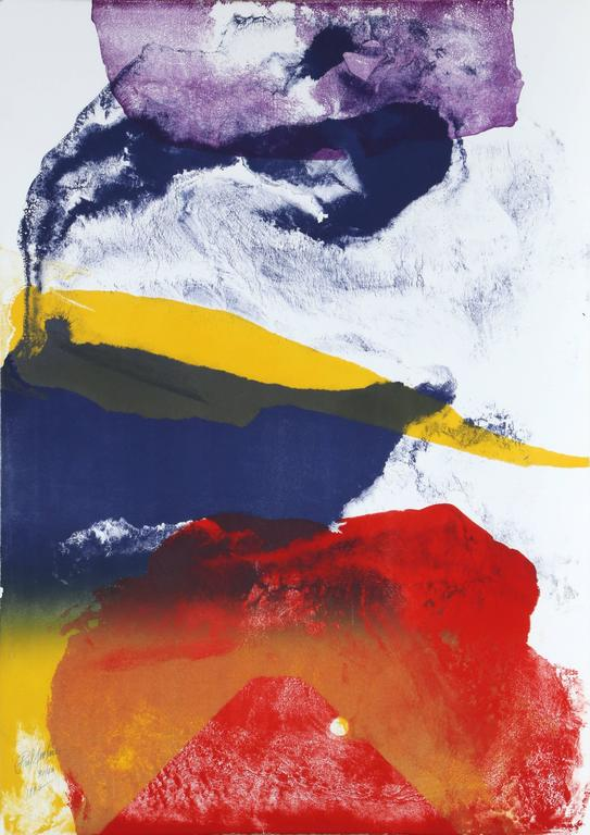 Large Colorful Abstract Lithograph by Paul Jenkins