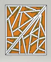 Orange One Variant, Geometric Abstract by Krushenick