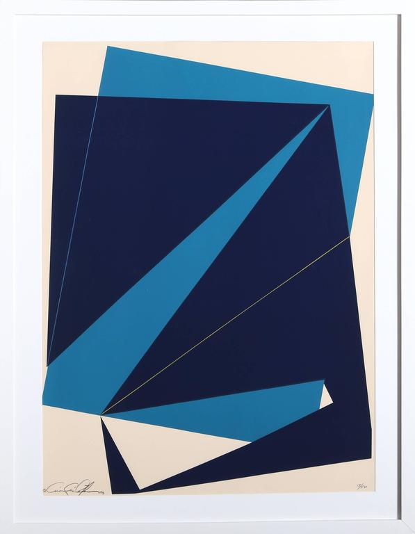 Chris Cristofaro Abstract Print - Untitled - Navy and Blue Rectangles