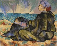 Woman on the Beach in Blanket