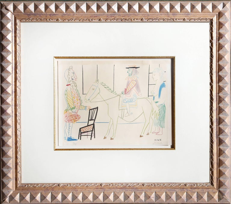 (after) Pablo Picasso Figurative Print - Man on Horse from Comedie Humaine Suite