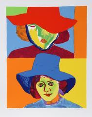 Girl with Hat III, Silkscreen by John Grillo