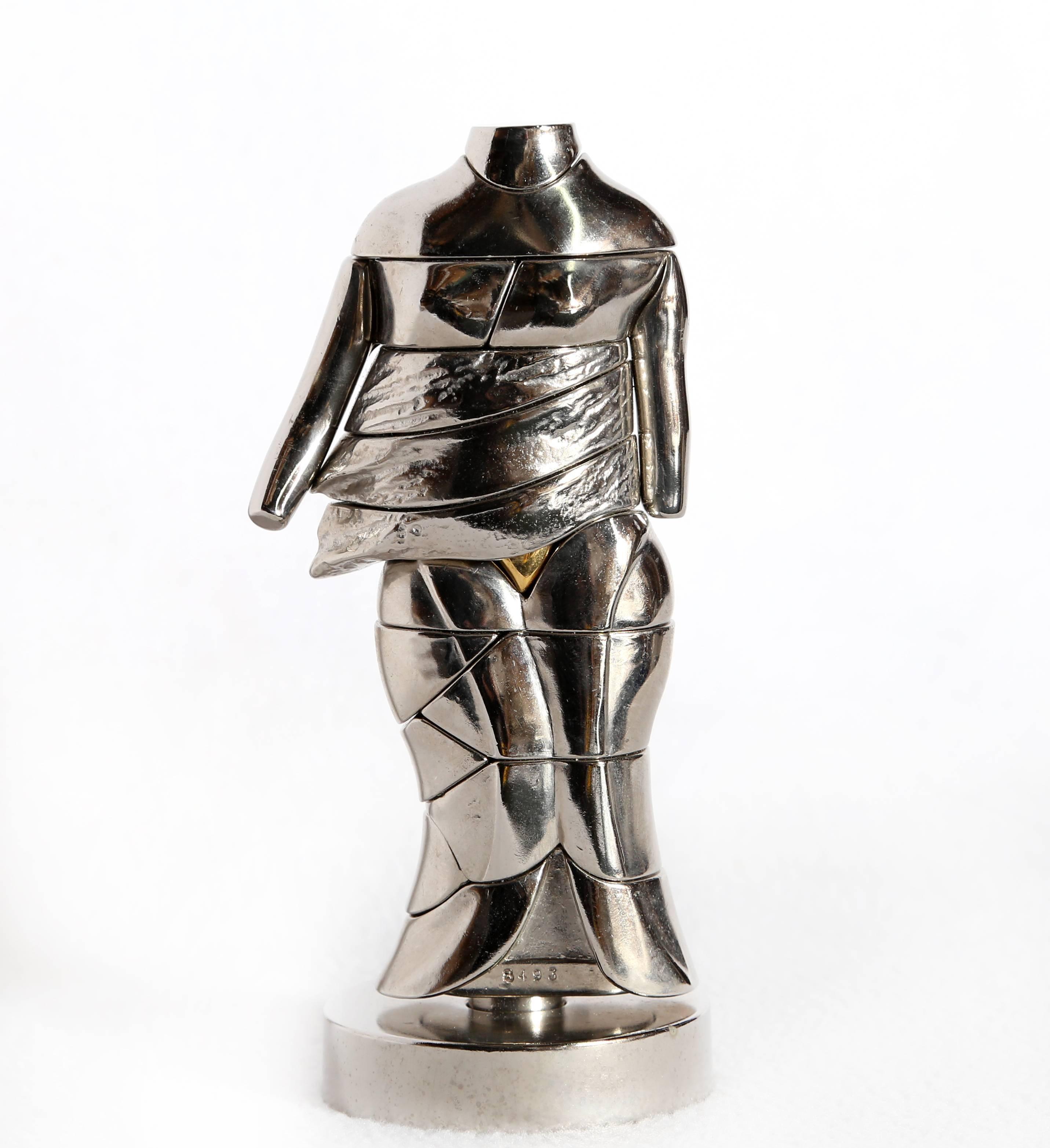 Mini-Cariatide, Nickel Puzzle Sculpture by Berrocal 1968