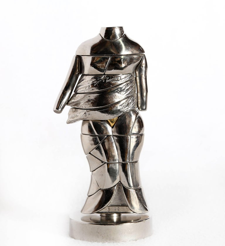 Miguel Ortiz Berrocal Figurative Sculpture - Mini-Cariatide, Nickel Puzzle Sculpture by Berrocal 1968