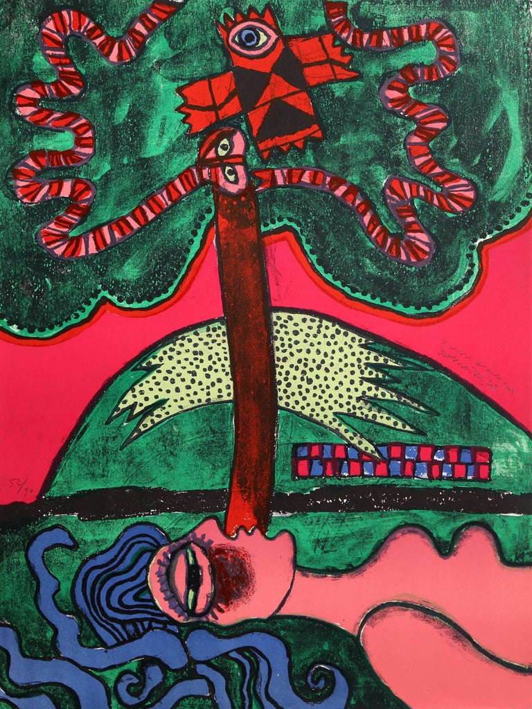 Artist: Corneille, Belgian (1922 - 2010) Title: L'Arbre Extatique from Homage to Picasso Year: 1973 Medium: Lithograph, signed and numbered in pencil Edition: 52/90 Size: 26 x 19.75 in. (66.04 x 50.17 cm)