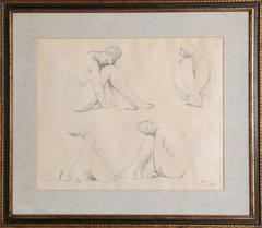 Study for Marbles, Original Drawing by Francisco Zuniga 1962