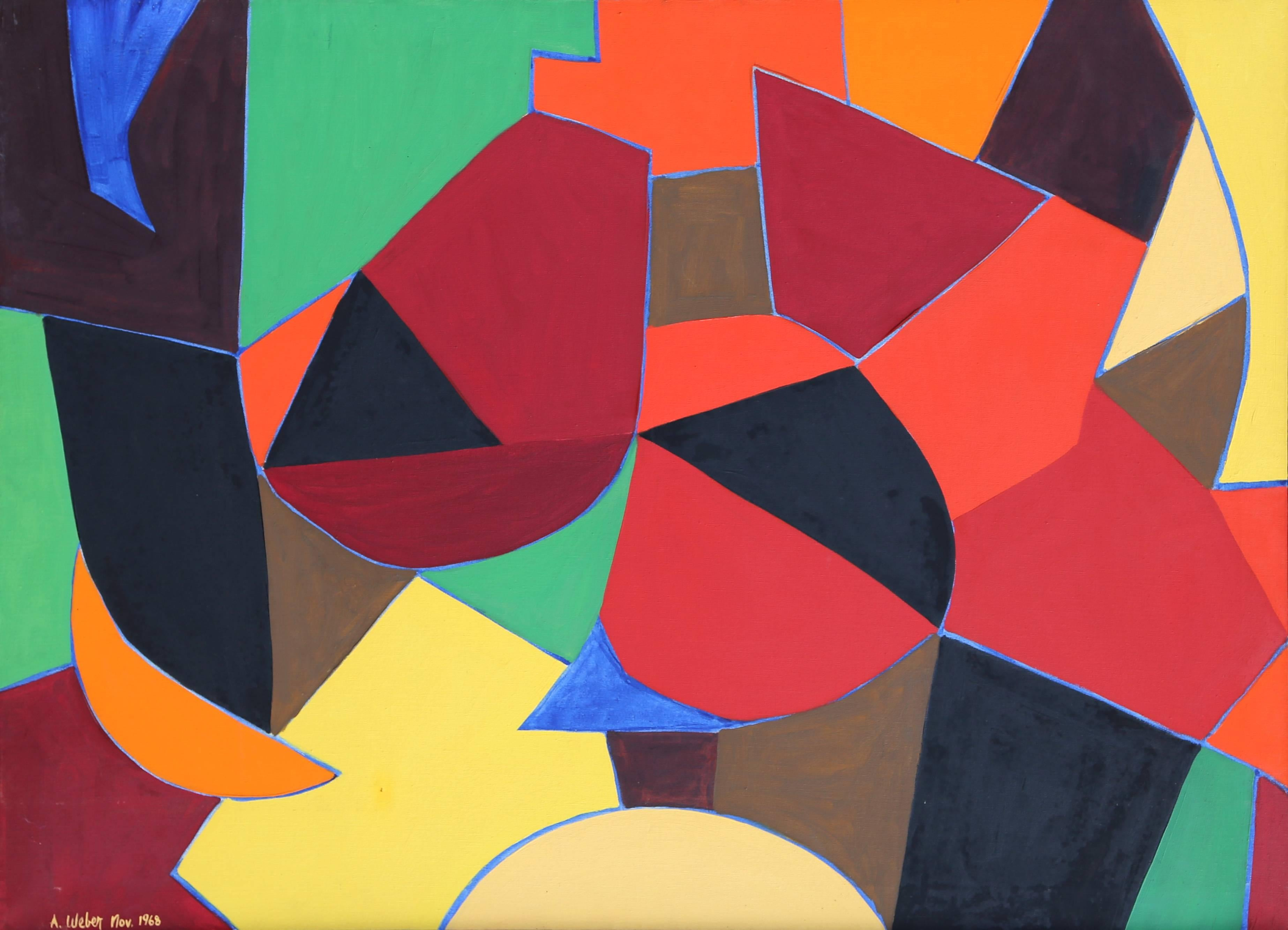 Colorful Abstract painting by Arnold Weber 1968