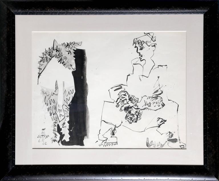 José Ortega Figurative Art - Seated Woman and Bull Figure