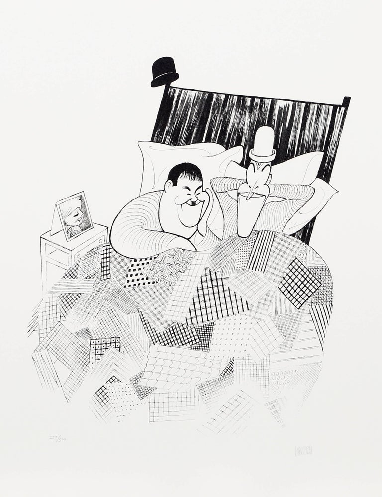 Albert Al Hirschfeld Figurative Print - Laurel and Hardy (Sweet Dreams) from The March of the Wooden Soldiers