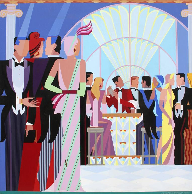 Giancarlo Impiglia At The Bar Painting For Sale At 1stdibs