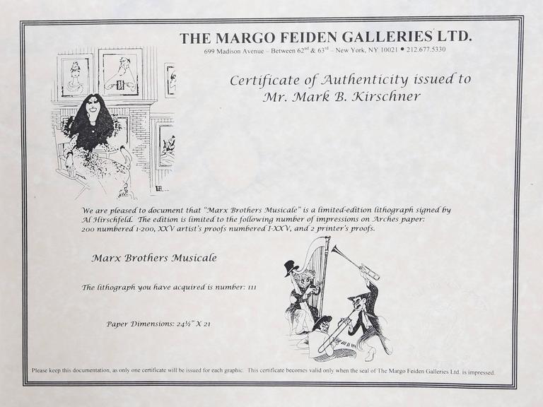 The Marx Brothers Musicale - Gray Figurative Print by Albert Al Hirschfeld