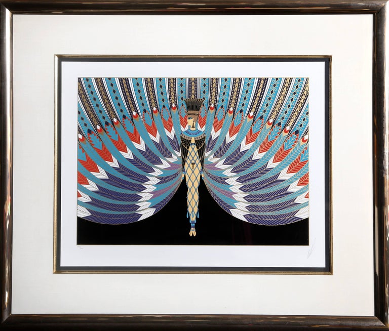 Artist: Erté Title: The Nile Year: 1982 Medium: Serigraph, signed and numbered in pencil Edition: 300 Image Size: 15.75 x 21 inches Frame Size: 32 x 36.5 inches