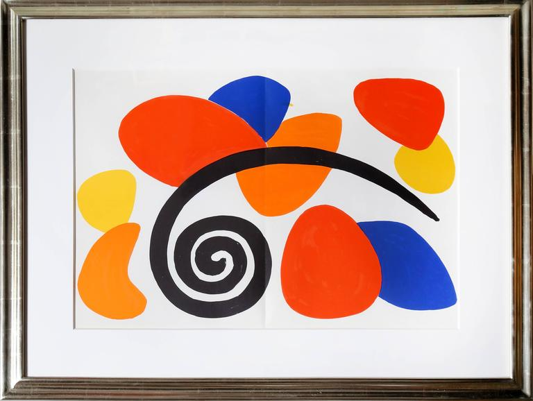 Alexander calder abstract with swirl from derriere le for Derriere le miroir calder