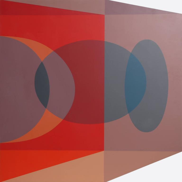 Scarlet Tesseract Corner - Op Art Print by Ben Cunningham