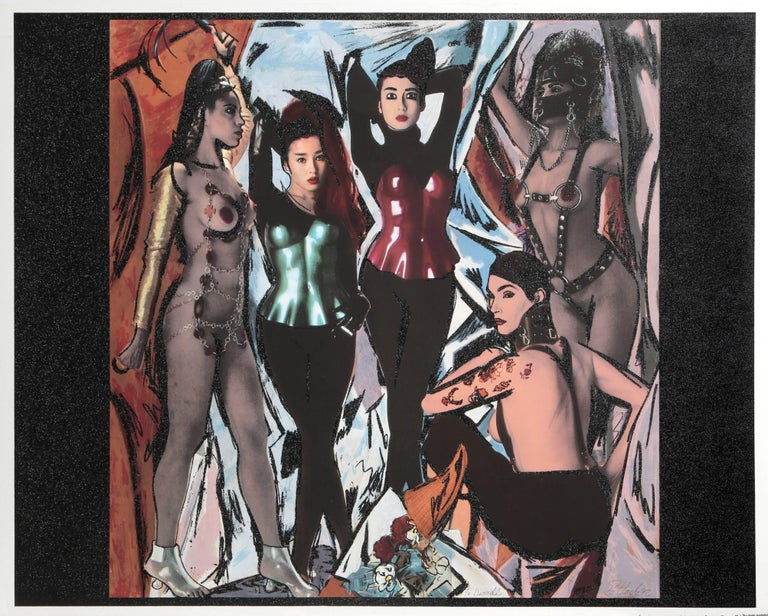 Artist: Steven Pollack Title: Rie Miyazawa Les Demoiselles d' Avignon Year: 1992 Medium: Lithograph with Superfine Glitter, Signed in Pencil. Edition: AP  Size: 31 x 43 inches