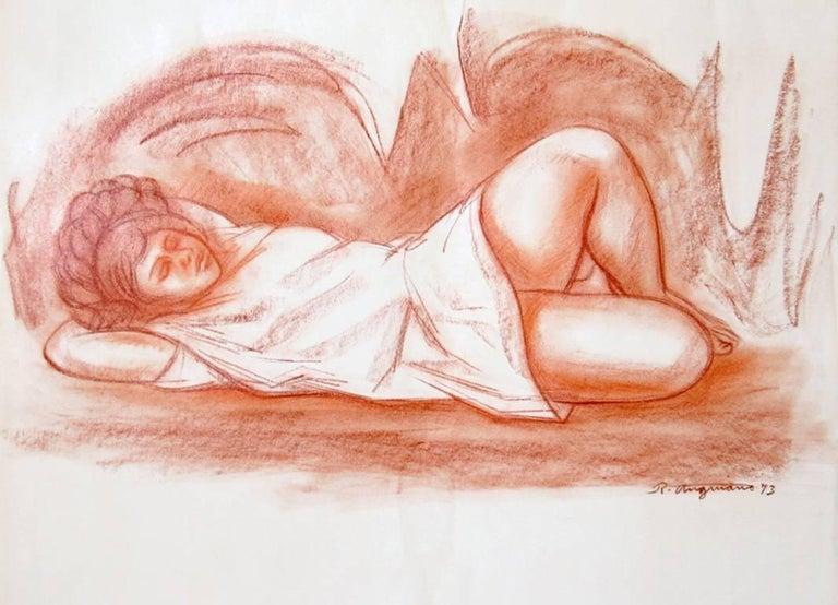 Raul Anguiano Figurative Art - Muchacha en una Cueva