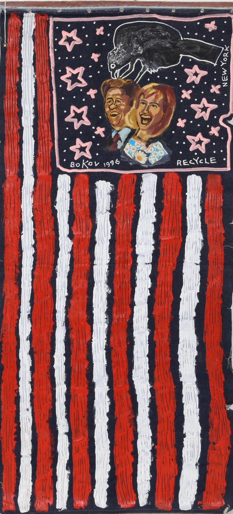 US Flag with Bill and Hillary Clinton - Mixed Media Art by Konstantin Bokov