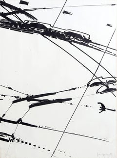 Untitled, Black and White Abstract Lithograph, 1969