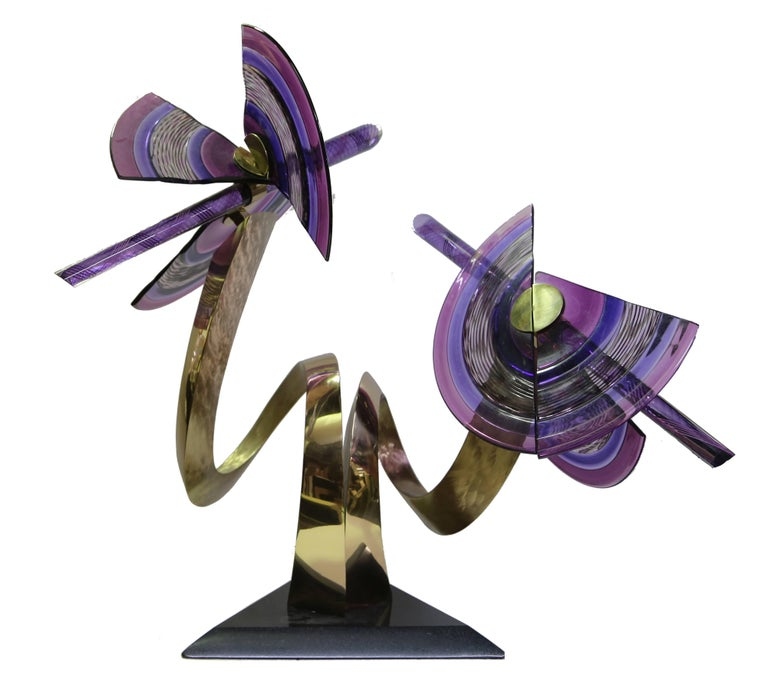 Artist: David Jaworsky, American Title: Attitudes Year: 1991 Medium: Blown Glass and Bronze with a Marble Base Size: 31  x 20  x 24 in. (78.74  x 50.8  x 60.96 cm) Base: 16 x 2 x 16 inches