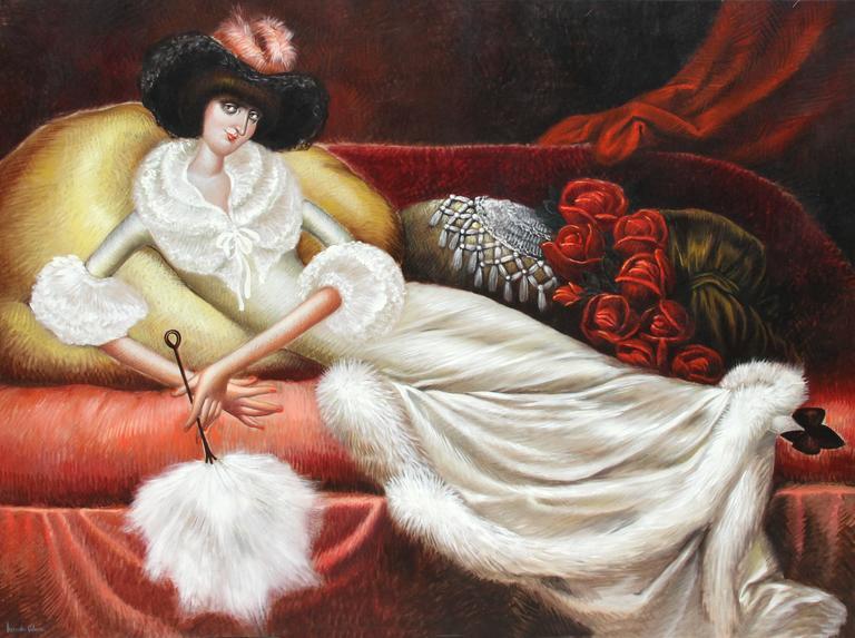 Reclining Woman in a Fur Housecoat