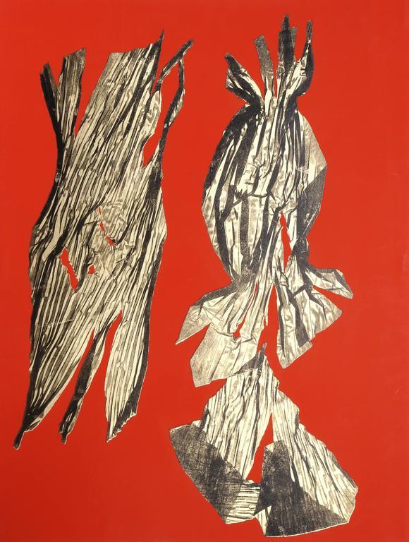 Lynda Benglis Abstract Print - Dual Nature - Red